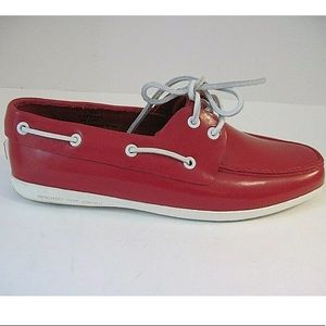 Speedy Top Sider red boat shoes 9 1/2 EUC